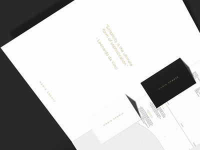 Haris Spahic: brand elements. gold simple minimal high class premium invoice business cards collateral brand branding