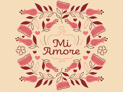 My Love granny chic ornate floral flower adobe illustrator texture grain vector drawing illustration design vday love heart my love mi amore valentines day valentine graphic design illustration