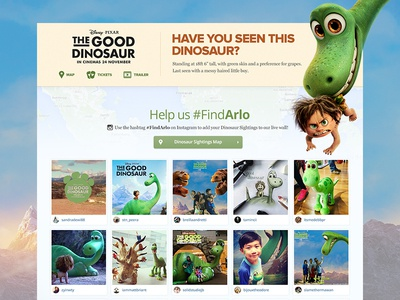 Have you seen this Dinosaur? web design landing page social asia maps website layout dinosaur disney movie microsite responsive