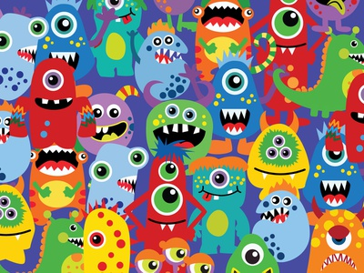 The Characters Germ Monsters Viruses biology ugly alien parasite monster infection angry illness bacterium virus germ background wallpaper flat vector design illustration