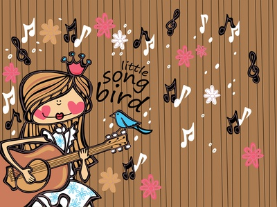 Girl and the little song bird illustrations