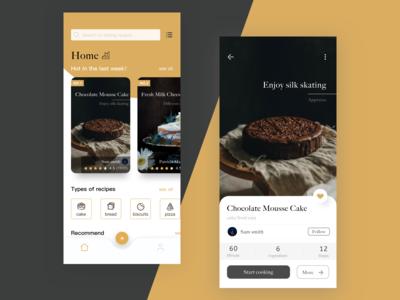 Baking Recipe App Design -home and recipe