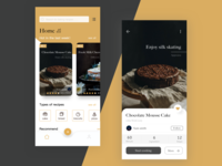 Baking Recipe App Design -home and recipe
