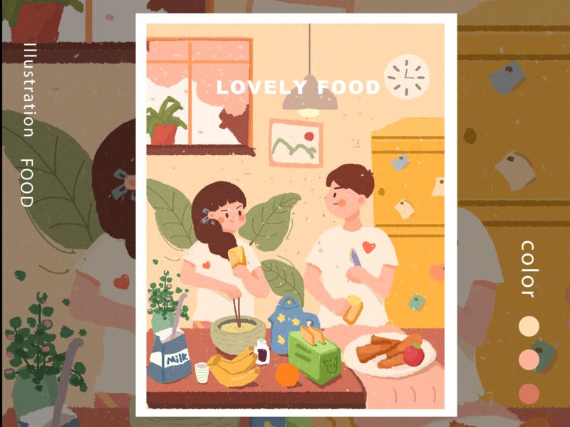 Food design baking illustration
