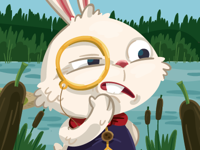 Suspicious bunny  character design childrens book bunny