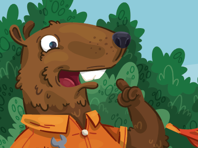This beaver has an idea!  idea children book character design beaver