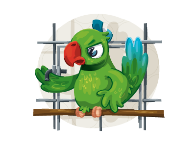 Angry bird! :) bird illustration children book cage parakeet
