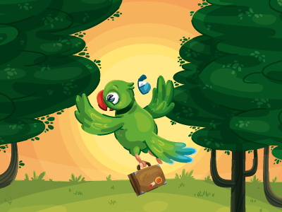 The escape escape sun forest parakeet children book illustration