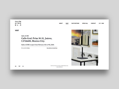 Salon ACME - Visit development minimal website web ux ui design