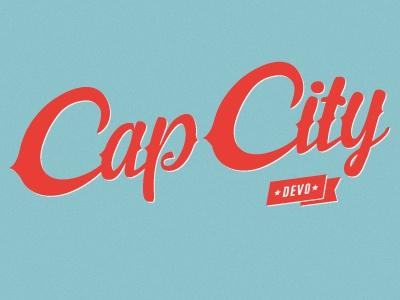 Cap City Devo typography austin mtb script logo