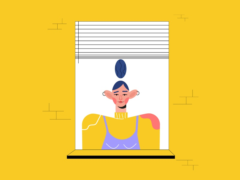 window girl character girl window stay home stayhome character design character new illustration