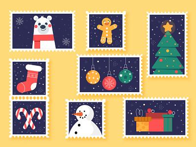 Flat Christmas stamp collection freepik christmas tree stamp stamp design christmas new illustration design