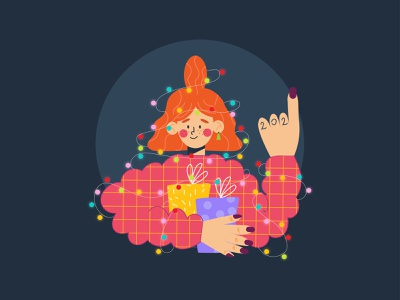 Hi 2021 characters 2d new year 2021 girl character design vector character new illustration design