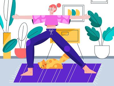 Yoga Day cat yoga day girl illustration 2021 vector character design character design yoga