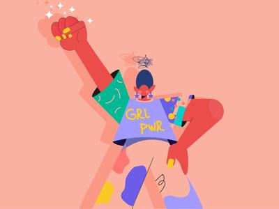 GRLPWR color 2019 girlpower girl character design new character vector illustration design