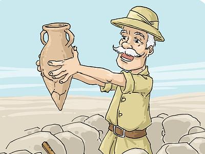 Archeologist amphora archeologist textbook italian digital painting adobe photoshop cartoon character ink drawing drawing illustration
