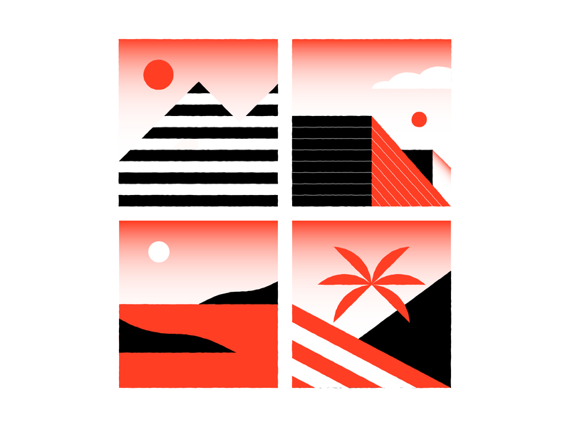 parts of the city black red square flag palm landing page island sea cloud builds sun mountain spots illustration town city