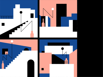 Mediterranean shapes mediterraneo illustrations geometric abstract minimalism sky window vase house architecture mediterranean