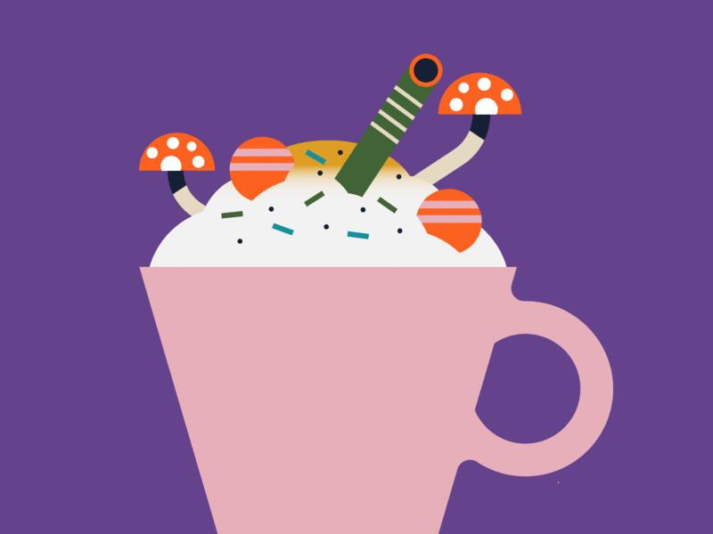 ice-cream candy mushrooms dessert ice cream cone design flat illustration ice cream