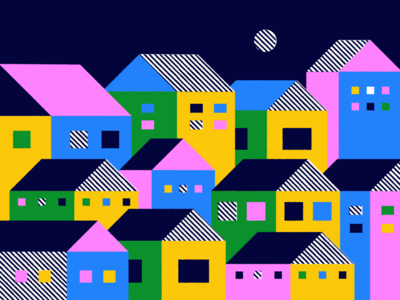Town minimal shapes geometric windows housetop roof townhouse vibrant colors graphics houses illustration city town