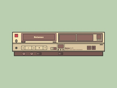 Betamax video tape 90s illustration tape player betamax application video vector logo movie graphic design icon