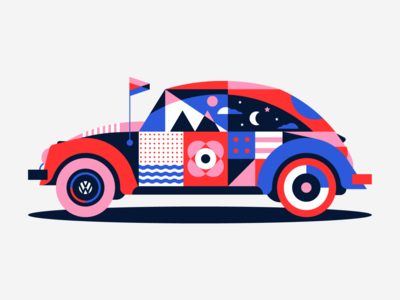 Volkswagen Beetle blue red pink graphics shapes abstract pattern geometric mural festival car vosvos beetle volkswagen