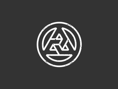 Triangle monogram design branding mark icon white red blue triangle circle logo a