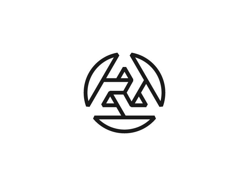 Triangle a logo circle triangle blue red white icon mark branding design monogram