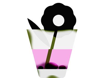 flower pink green leaf illustration minimal graphic plant stone water glass flower