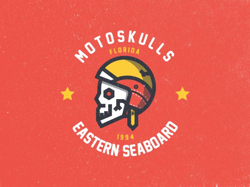 Motoskulls skull icon florida design graphic branding identity emblem mark logo motorcycle badge