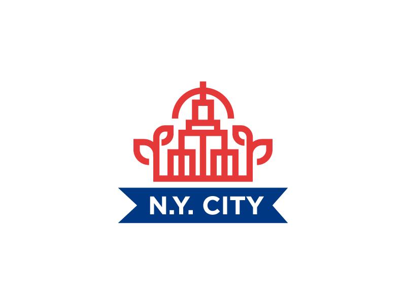 NYC minimal simple identity design graphic building emblem logo mark badge city nyc