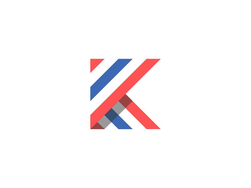 personal monogram blue red design graphic personal branding identity icon logo mark monogram k