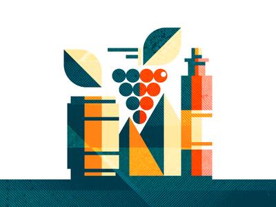 Wine  design graphic flat illustration leaf grape mountain texture barrel bottle wine