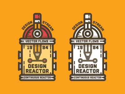 Design Reactor designer creative flow chemical mark reactor vector pencil badge design graphic