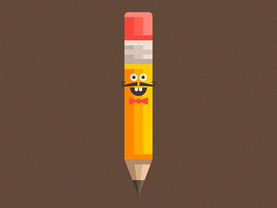 Mr. Crayon papillon brown noise moustache character design graphic illustration crayon pencil