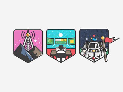 Raise Your Flag Badges planet leadership service customer communication space design graphic illustration badge