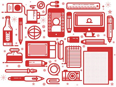 Designer Pattern coffee computer phone paper pencil design grapic illustration red icon pattern designer