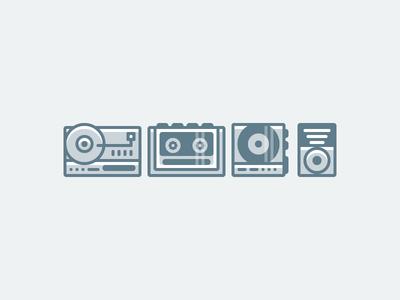 player icons illustration design graphic retro mp3 cd walkman record icon player music