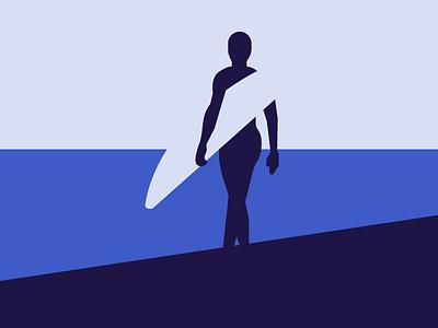Surfer popart blue surfer sea ocean surfing negative space graphic design illustration mountain