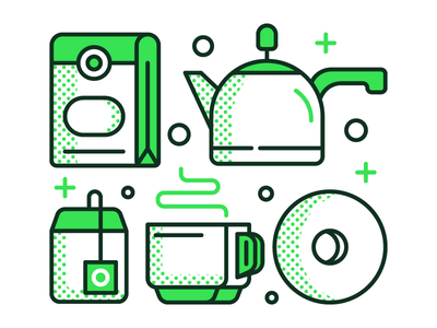 Tea & Icons  tea green icon illustration brewing package donut teapot graphic design simple dot
