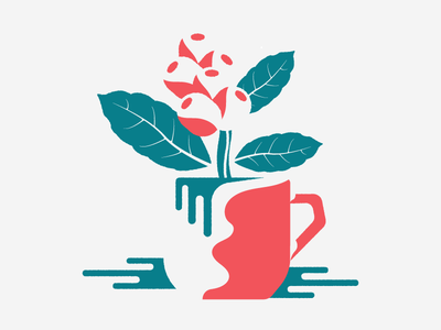 Coffee cup design graphic splash negative space illustration bean leaf red green coffee