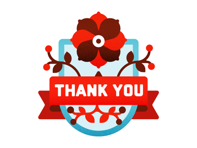 Thank You  type ribbon leaf illustration blue red thank you flower badge