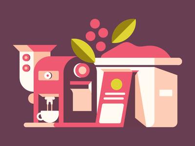 Coffee Process harvest cup design illustration bean leaf package bag machine espresso process coffee