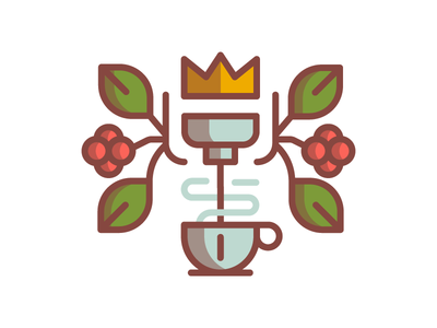 Espresso  espresso coffee bean leaf plant cup crown illustration badge mark simple line