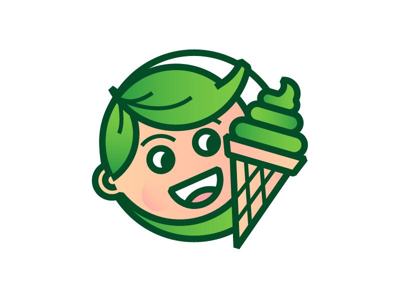 matcha kid badge character cone design green illustration brand mark boy ice cream kid matcha