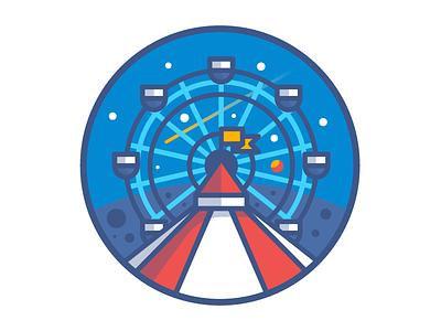 Dream Planet  stars dream fun illustration ferris wheel funfair space planet badge