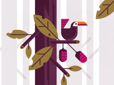 Exploration design exploring new texture berries leaf illustration style nature tree bird exploration