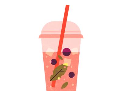 Hibiscus & Berries hot summer illustration berries herbal ice tea beverage cold