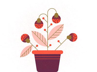 Plant geometric minimal texture illustration vibrant colors nature leaf pot berry flower plant