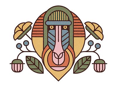 Mandrill texture stroke style exploring nature plant flower animal illustration monkey mandrill